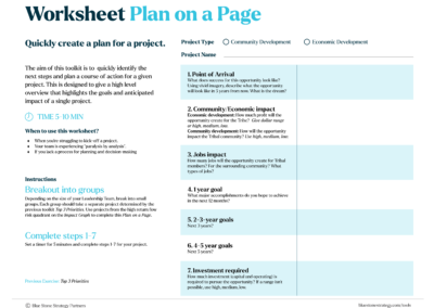 Worksheet – Plan on a Page