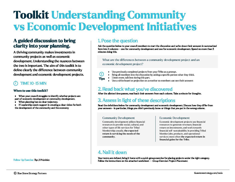 Toolkit – Community vs Economic Development